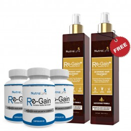 Nutralyfe Re-gain (3) + Regain Plus Oil (2) - 5 Bottles