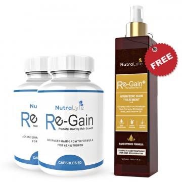 Nutralyfe Re-gain (2) + Regain Plus Oil (1) - 3 Bottles